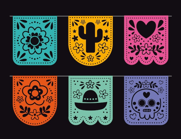 Decoración mexicana plana cinco de mayo