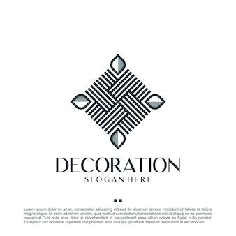 Decoración minimalista, hoja, plantilla de diseño de logotipo.