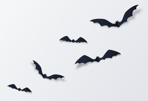 Decoración de murciélagos de halloween. estilo de corte de papel.