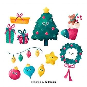 Decoración de navidad en acuarela