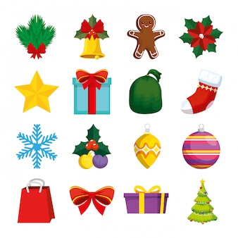 Decoración de navidad con conjunto de iconos