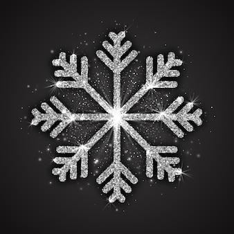Decoración de navidad de copo de nieve chispeante de plata