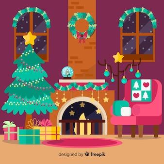 Decoración de navidad en estilo flat