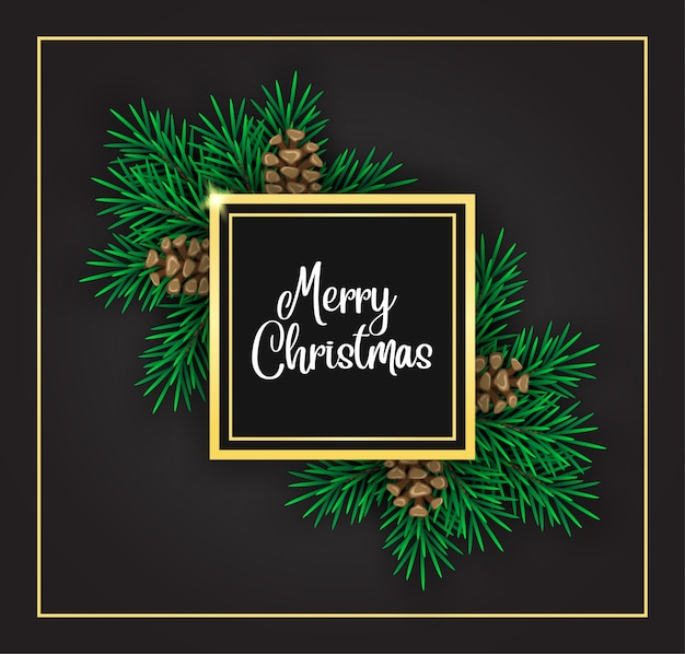 Decoración navideña de abeto y marco dorado