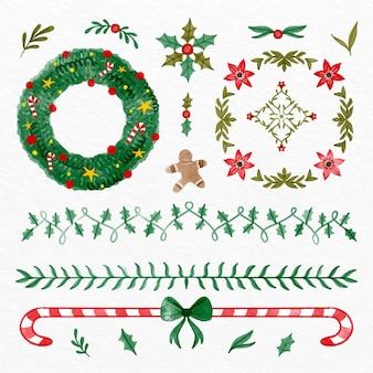 Decoración navideña en acuarela