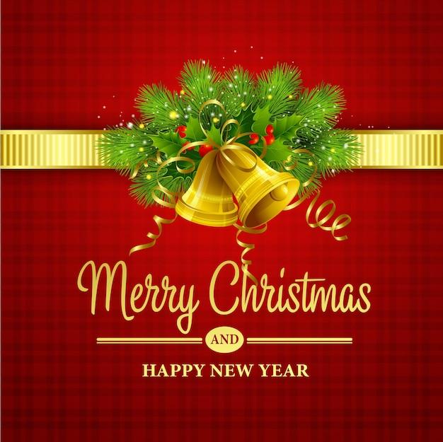 Decoración navideña con árboles de hoja perenne, acebos y campanas. ilustración vectorial eps 10