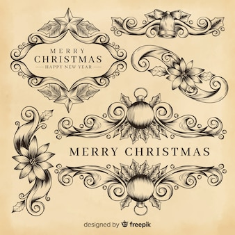 Decoración navideña con bordes ornamentales
