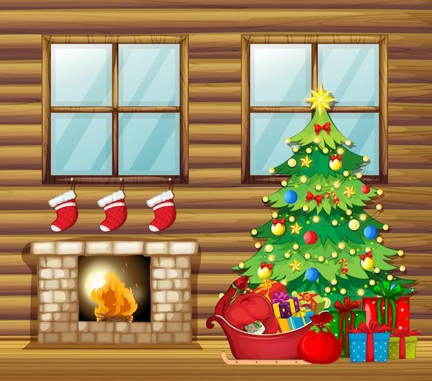 Decoración navideña en casa de madera.