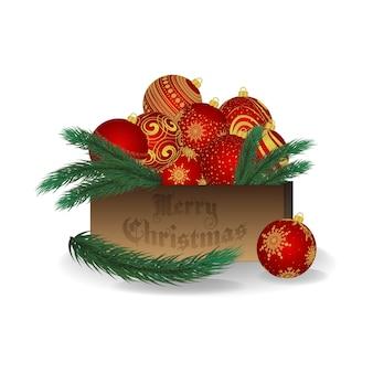 Decoración navideña, decoración. rama de abeto, muérdago. caja de madera. decoraciones para árboles de navidad. fondo blanco aislado. feliz navidad y un feliz año nuevo.