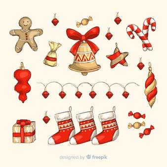 Decoración navideña dibujada a mano