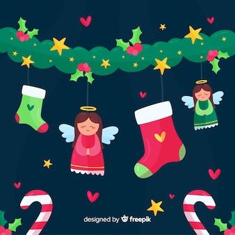Decoración navideña en diseño plano