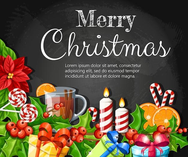 Decoración navideña flor de nochebuena roja y muérdago con hojas verdes pan de jengibre rodaja de naranja canela stick ilustración sobre fondo negro con lugar para el texto