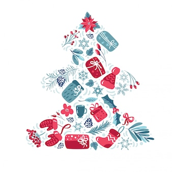 Decoración navideña con hojas, regalos, flores