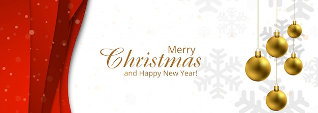 Decoración navideña de lujo con plantilla de banner de copos de nieve y bolas