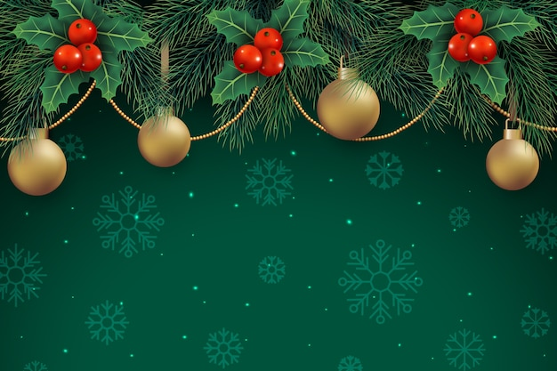 Decoración navideña sobre fondo verde con copos de nieve