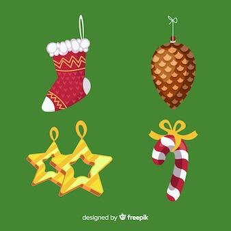 Decoración navideña sobre fondo verde