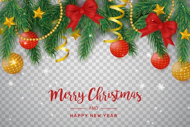 Decoración navideña transparente con lazos y bolas.