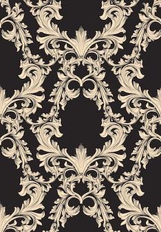 Decoración de ornamento hecho a mano de patrón de damasco. texturas de fondo barroco