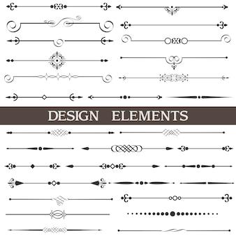 Decoración de la página, elementos de diseño caligráfico, conjunto.