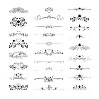 Decoración de página vintage vector con coronas, flechas y elementos florales