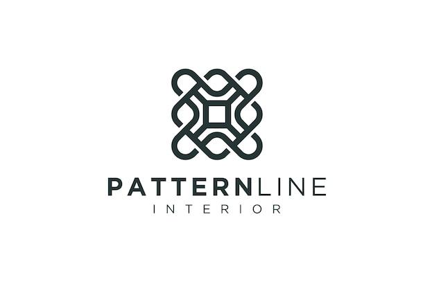 Decoración de patrón de logotipo con estilo de contorno sofisticado