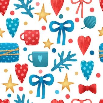 Decoración de patrón de navidad acuarela