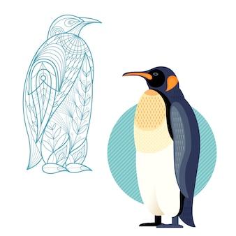 Decoración y pingüino plano.