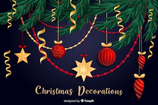 Decoración plana de navidad con bolas rojas de navidad y cinta