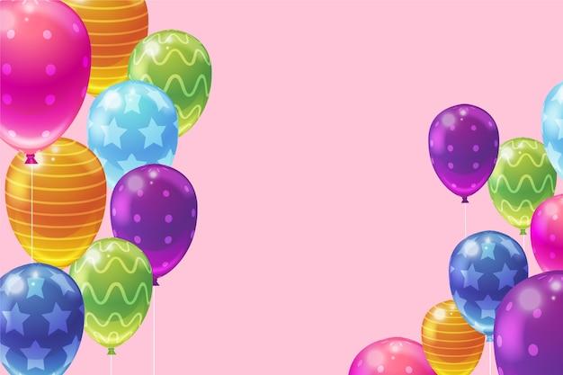 Decoración realista de globos para la celebración de cumpleaños