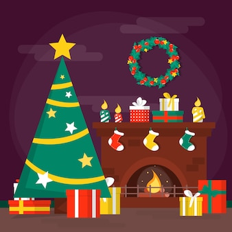 Decoración de la sala de navidad, chimenea y árbol. vacaciones de invierno