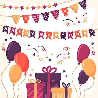 Decoración sorpresa de cumpleaños con regalos