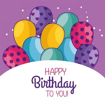Decoración de tarjeta de feliz cumpleaños con globos
