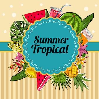Decoración de tarjeta tropical de verano