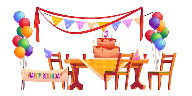 Decoración de vectores para fiesta de cumpleaños fuera