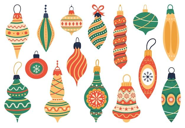 Decoraciones para árboles de navidad, vacaciones de navidad, juguetes para árboles de piel, elementos vintage lindos, conjunto de ilustraciones vectoriales