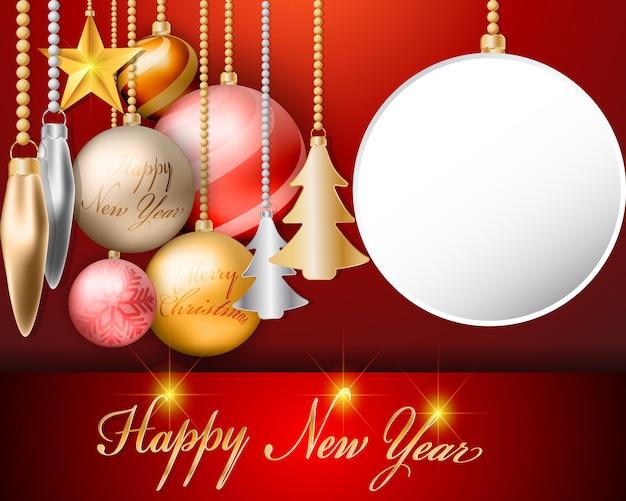 Decoraciones de bolas de navidad de pantalla vacía