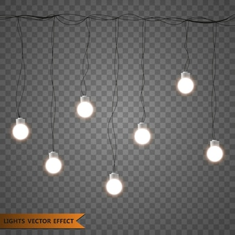 Decoraciones de guirnaldas. luces aisladas elementos de diseño realista.