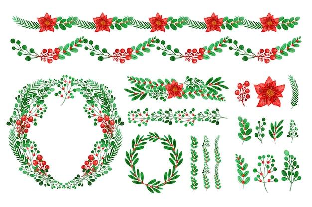 Decoraciones para navidad en acuarela