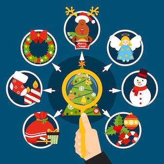 Decoraciones de navidad composición plana con lupa en mano, árbol de navidad, elementos de vacaciones sobre fondo azul.
