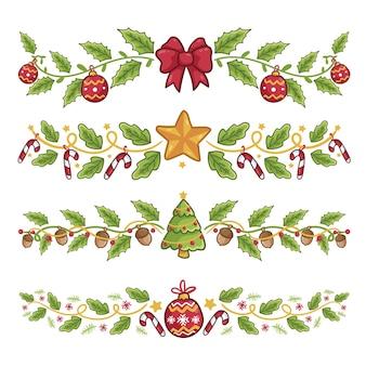 Decoraciones navideñas dibujadas a mano
