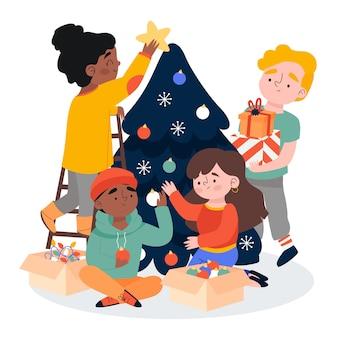 Decorar el árbol y traer los regalos de fondo de la temporada de invierno