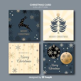 Decorativa colección de tarjetas de felicitación de navidad