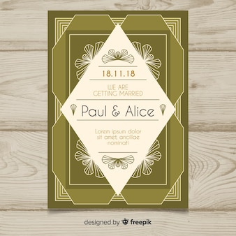 Decorativa plantilla de boda con diseño art deco