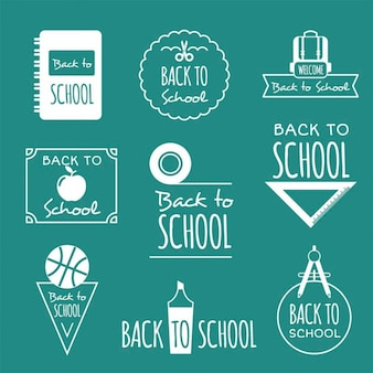 Decorativas insignias retro de vuelta al colegio