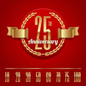 Decorativo aniversario emblema dorado - ilustración