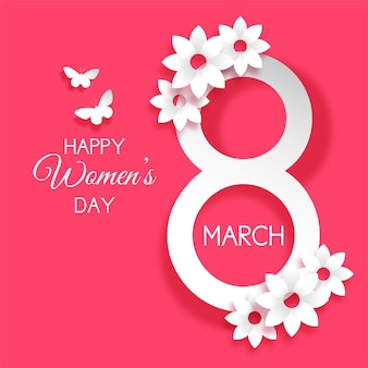 Decorativo día internacional de la mujer con flores y mariposas.