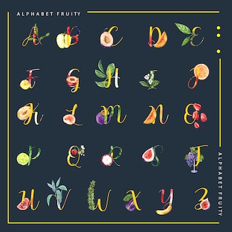 Decorativo diferente tipo de frutas alfabeto inglés fuente. plantilla de ilustración acuarela.