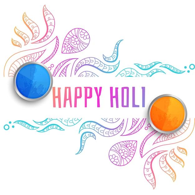 Decorativo feliz holi festival saludo fondo