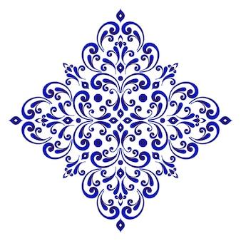 Decorativo floral azul y blanco