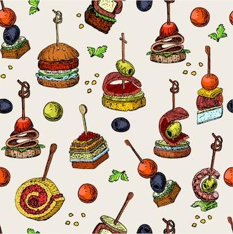Dedo comida vector de patrones sin fisuras